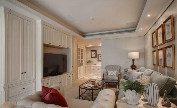 美式风格110平两室两厅家装客厅整体效果图2014装修