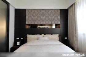 户型 黑色 卧室 床头软包 装修效果图大全2014图 高清图片