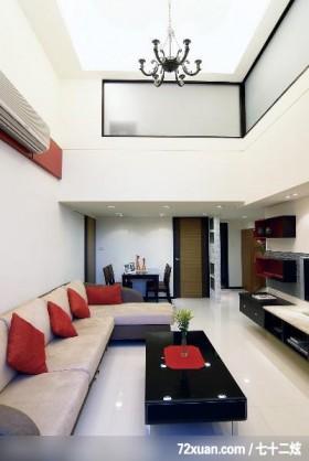 简约风格白色复式客厅经济适用90平米沙发背景墙现代感设计密钥,观林图片