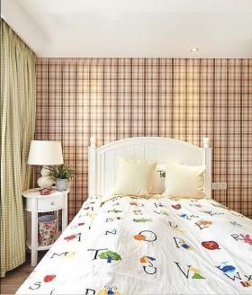 美式风格美式格子背景墙儿童房装修效果图