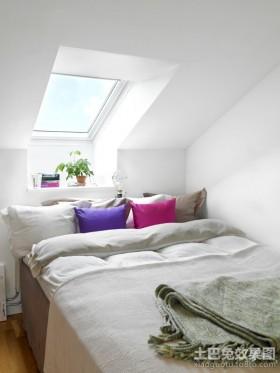 简约风格斜顶阁楼卧室飘窗装修效果图
