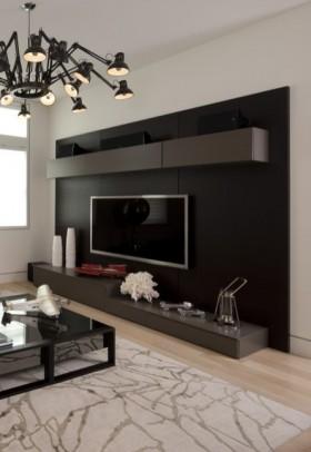 局部现代风格现代黑白电视背景墙装修效果图