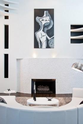 现代风格2013简约现代风格客厅壁炉手绘背景墙装修效果图