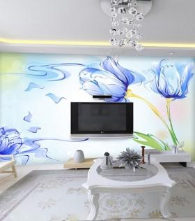 彩绘电视背景墙效果图