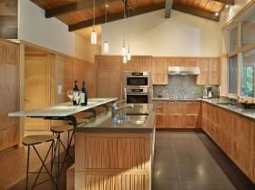 空间美式风格美式开房式厨房吧台装修设计
