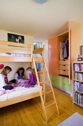 儿童房卧室背景墙儿童房上下铺装修