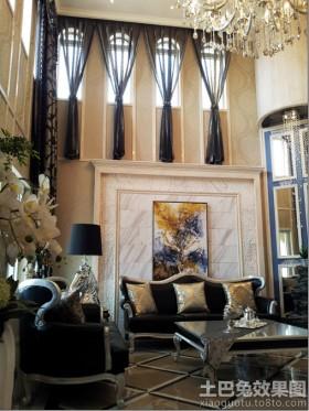 空间欧式风格欧式别墅挑高客厅沙发背景墙效果图