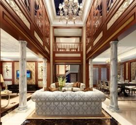中式风格别墅中式别墅客厅吊顶效果图图片