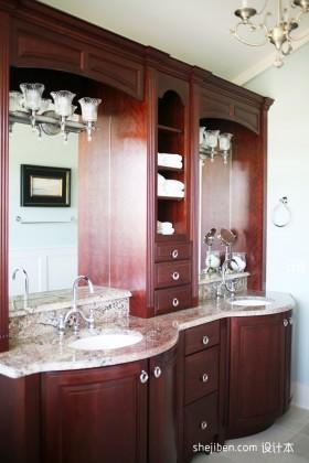 浴室柜美式浴柜效果图图片