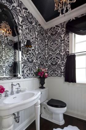 局部壁纸小卫生间壁纸装修设计图