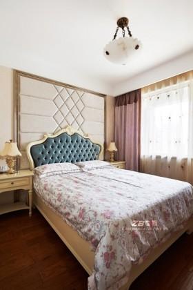 卧室床简欧风格卧室床头背景墙效果图图片