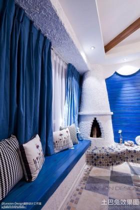 地中海风格窗帘地中海风格飘窗蓝色窗帘贴图