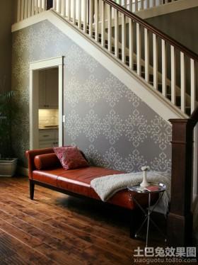 楼梯欧式花纹墙纸贴图