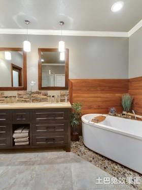 卫生间浴室柜卫生间木饰面墙裙效果图