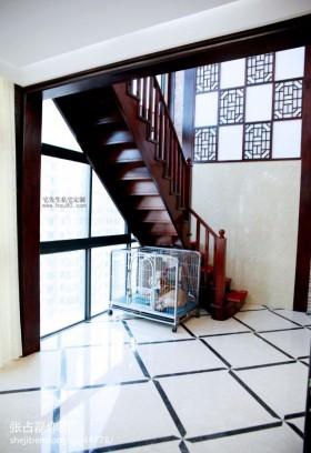 瓷砖简中式室内实木楼梯装修效果图