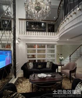 现代复式楼客厅电视机背景墙效.图片
