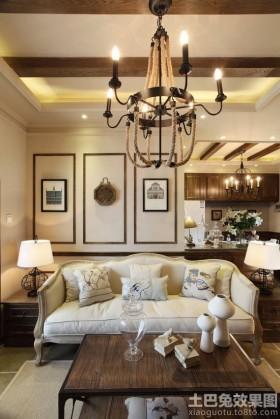 客厅沙发美式田园风格客厅有梁吊顶装修效果图