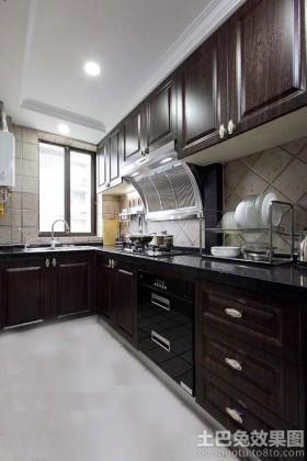 家庭小厨房实木橱柜效果图图片