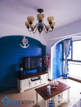 地中海风格电视背景墙地中海风格小户型电视背景墙装修效果图片