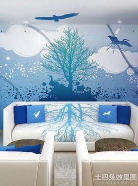 蓝色沙发背景墙室内彩绘墙图片