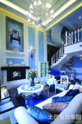 地中海风格灯具地中海风格别墅客厅电视背景墙效果图欣赏
