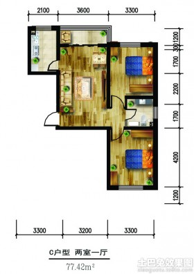 77平米两室一厅室内设计平面图图片