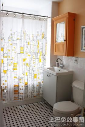 卫生间地板家庭卫生间浴帘装修效果图片