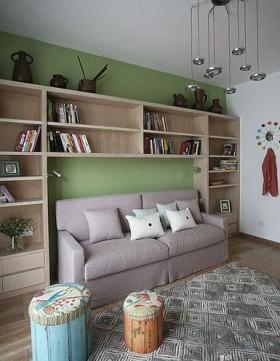 客厅沙发简约客厅墙上书架装修效果图