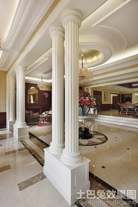 风格吊顶客厅欧式罗马柱图片