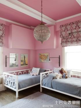 颜色吊顶双人儿童房墙面颜色效果图