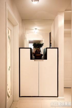 玄关背景墙白色玄关鞋柜装修图片
