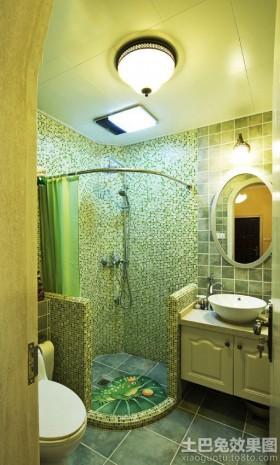 卫生间洗手台干湿分离卫生间马赛克背景墙效果图