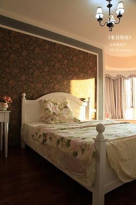 卧室床简欧式卧室背景墙壁纸效果图图片