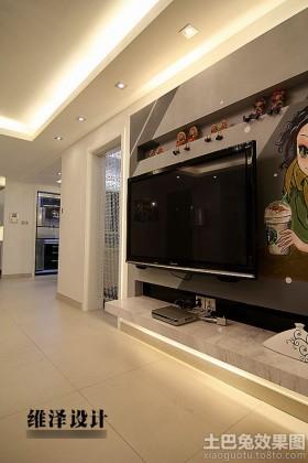 电视柜手绘壁纸电视墙效果图