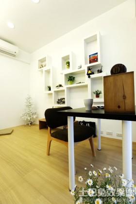 空间背景墙书房浅色木地板贴图