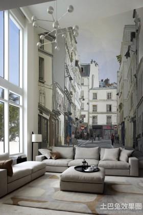 挑高客厅墙绘图片大全