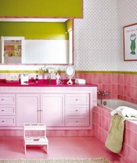 浴室柜欧式田园风格粉色卫生间装修效果图