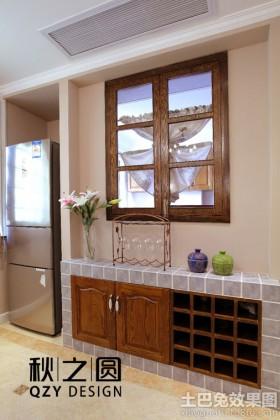 美式风格厨房厨房砖砌橱柜装饰效果图