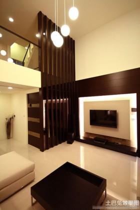 电视背景墙产品挑高客厅木隔断效果图