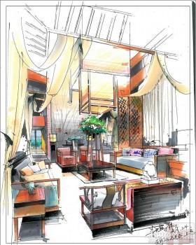复式中式别墅室内手绘效果图