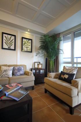 美式风格吊顶简美式小户型装修客厅实景图图片