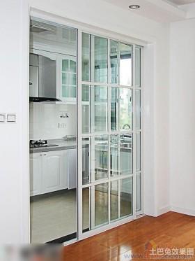 白色家庭厨房玻璃隔断效果图图片