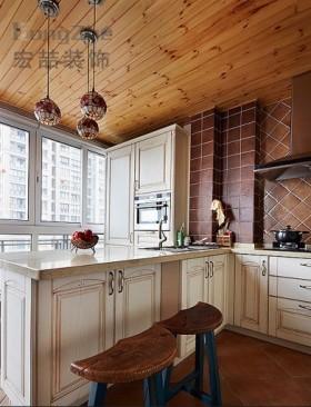 美式风格橱柜美式田园小户型厨房装修效果图图片