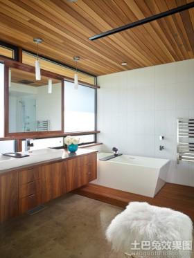 卫生间浴室桑拿板吊顶效果图欣赏图片