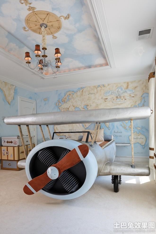 创意儿童房飞机床装修效果图片