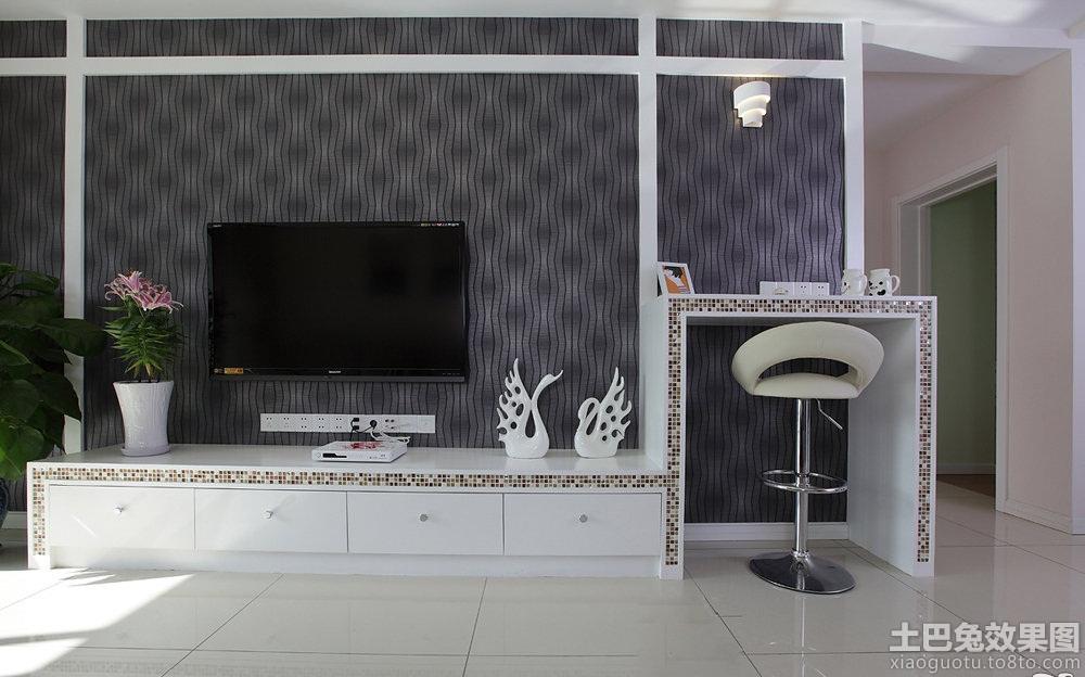 现代条纹壁纸电视背景墙装修效果图