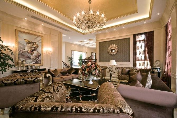 欧式别墅客厅吊顶装修效果图大全图片