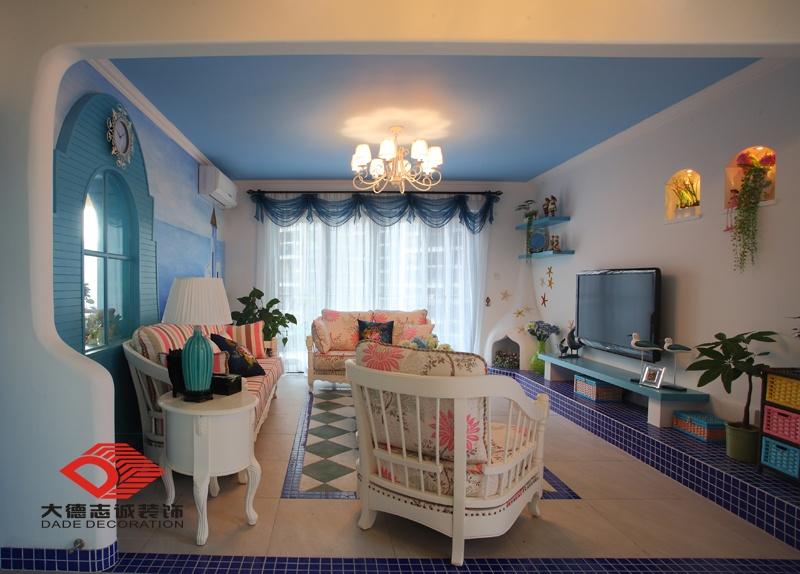 地中海风格客厅吊顶效果图片