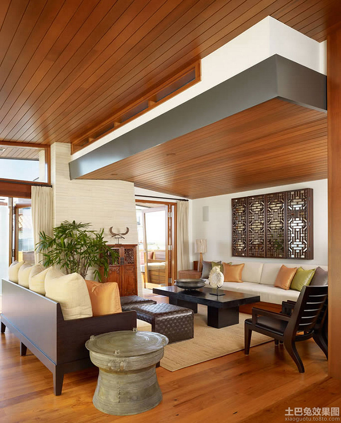 简中式客厅生态木吊顶效果图