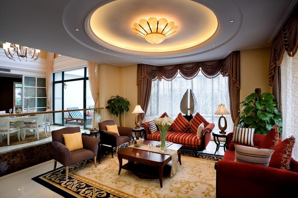 欧式客厅圆形大吊顶装修效果图欣赏图片